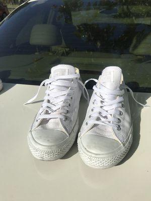 White Leather Converse Chuck Taylor size 9.5 for Sale in Miami, FL