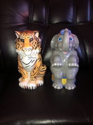 """Ringling Bros - The Greatest Showman On Earth TIGER Mug Cup Flip Top Lid 7.5"""" And Elephant same size for Sale in Hayward, CA"""