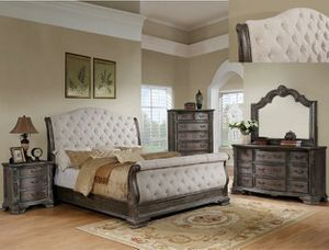 SALE Sheffield antique gray sleigh 5pc queen and king bedroom set for Sale in Houston, TX
