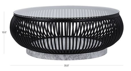 Circular coffee table glass top, iron and white marble base - Haven model (CB2) for Sale in Los Angeles,  CA