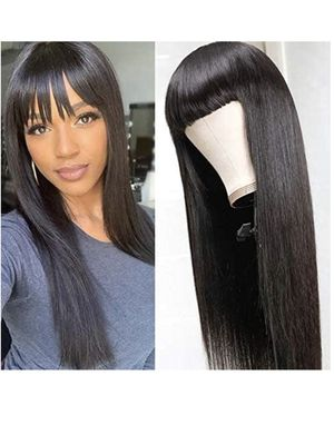 26inch Silky Brazilian Virgin Straight Human Hair Wigs with Bangs 150% Density None Lace Front Wigs Glueless Machine Made Wigs for Black Women Natura for Sale in Eastvale, CA