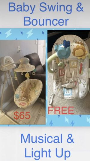 Baby swing and bouncer Musical & light Up for Sale in Houston, TX