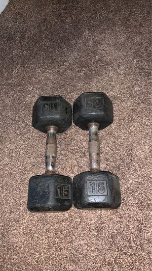 two 15 pound dumbbells for Sale in Comstock Park, MI