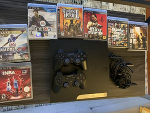 PS3 with 2 Wireless controllers and Games for Sale in Alameda, CA