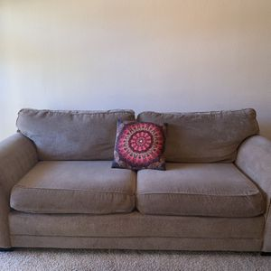 Beige Two Cushion Couch . FREE DELIVERY! for Sale in Cedar Park, TX