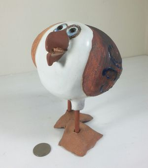 Signed Sue Davis Whimsical Art Pottery Sea Gull Ceramic Bird Sculpture for Sale in St. Petersburg, FL