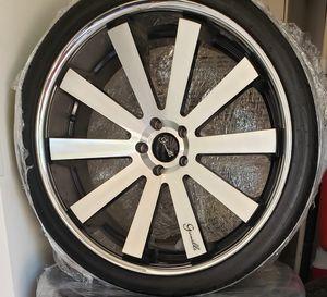 Wheels Gianelle Santo -2SS Black w/Macine Face w/Chrome Stainless Steel Lip 24x10 (5-120) (+32) including 5 tires for Sale in Phoenix, AZ