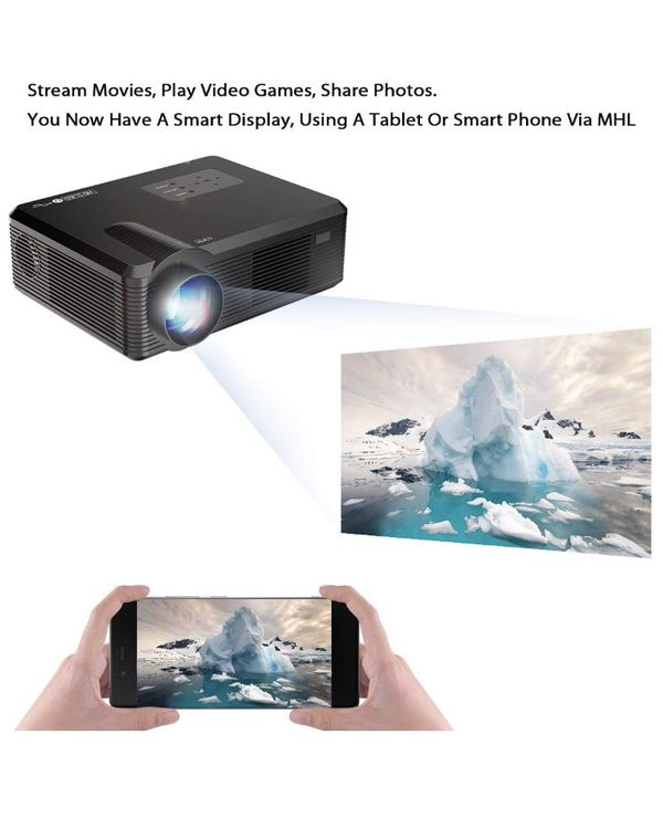 GAOAG Portable Video Projector + 20% Brightness Multimedia Home Theater Movies HDMI VGA AV USB MicroSD TV, Laptops, Party, Game Android Smartphones
