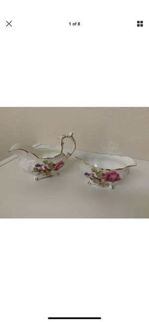 MINT Hammersley & Co. Bone China Tea Cream & Sugar Dishes Made in England Floral for Sale in Hillsboro, OR