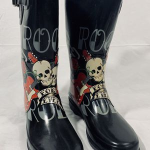 Vintage CHOOKA Rain Boots Size 8 For-Ever SKULLS Tattoo Guitar Chains~Punk Rock for Sale in Littleton, CO