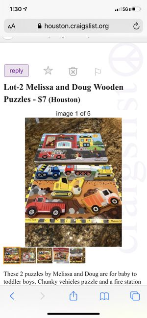 Melissa and Doug Lot 4 wooden puzzles for Sale in Houston, TX