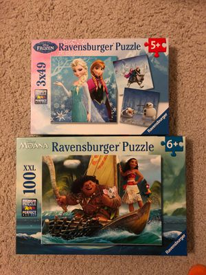 Ravensburger Puzzle - frozen 3 puzzles (49 piece) and Moana 100 piece for Sale in Washington, DC
