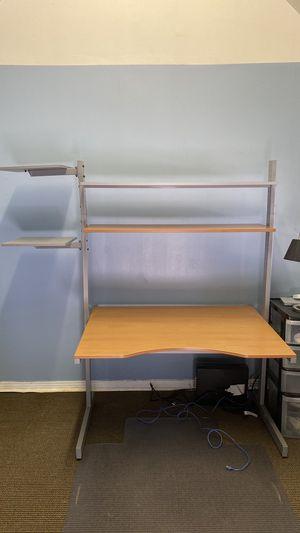 Famed IKEA Jerker Height Adjustable Desk + Riser Shelf + 2 Swivel Arm Shelves for Sale in Los Angeles, CA