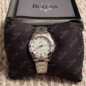 Bulova Mother Of Pearl Diamond Dial Stainless Steel Ladies Watch for Sale in Sandwich, IL