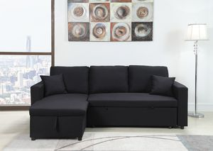 Sectional Sofa with Chaise Storage and Pull Out Bed, Black for Sale in Santa Ana, CA