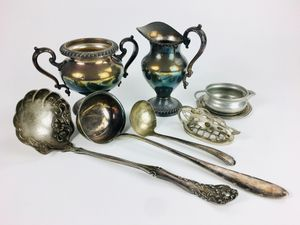 Group Of Assorted Vintage Silverplate And Silver Table Articles (1019758) for Sale in South San Francisco, CA