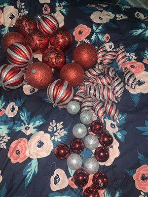 40 pc red & sliver Christmas ornaments for Sale in The Bronx, NY