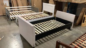 New TWIN XL Upholstered Bed. Tan/Espresso for Sale in Hilliard, OH