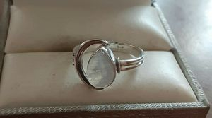 92.5 Sterling Silver Rainbow Moonstone Cresent Moon Ring. for Sale in Providence, RI
