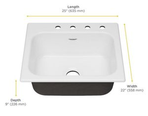 Quince Drop-in Cast Iron 25 in. 4-Hole Single Bowl Kitchen Sink in Brilliant White for Sale in Dallas, TX