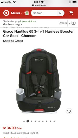 Graco Nautilus 65 3-in-1 Harness Booster Car Seat for Sale in Gaithersburg, MD