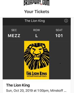 1 Broadway ticket to Lion King for Sale in New York, NY