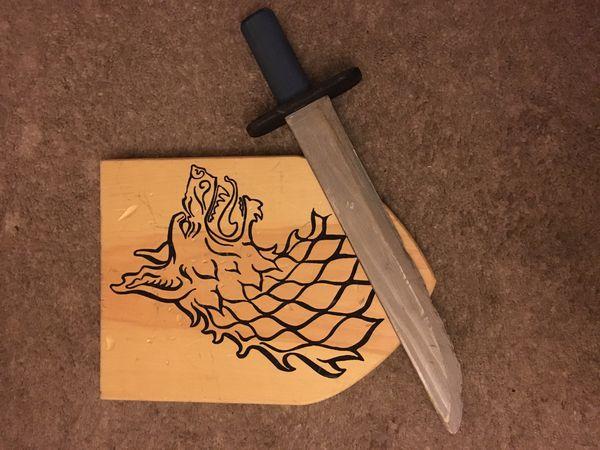 Kid's play sword shield set, wooden