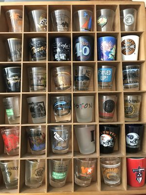 Rare collection of shot glasses in wood display case for Sale in Smyrna, TN