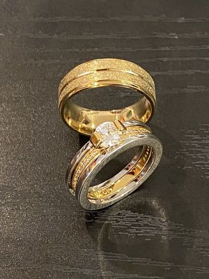 Matching Ring Set- 18K Gold plated Solitaire Ring for Sale in Sacramento, CA