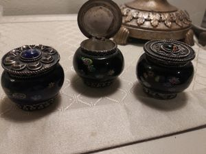 3 Antique Blue Colbalt dresser Jar/ Powder Jar for Sale in St. Louis, MO