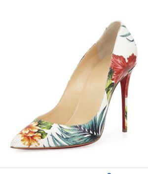Christian Louboutin Pigalle Follies White Floral Heel Pumps for Sale in Conyers, GA