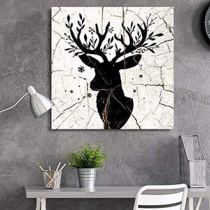 ((FREE SHIPPING)) square canvas wall art - deer antlers wood effect canvas - giclee print gallery wrap modern home decor Painting like print for Sale in San Francisco, CA