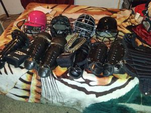Lot Of Youth Baseball Helmets Shins Knee Pads Catchers Mitt for Sale in Pensacola, FL