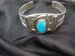 Real silver and turquoise bracelet pretty heavy for Sale in Covington, WA