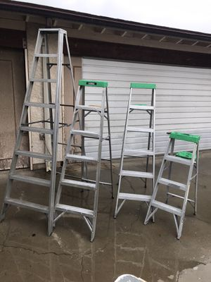 4 aluminum a frame step ladders ladder good working order most with paint shelf Escalera 4' 6' 8' 4 6 8 pies feet foot $175 in Ontario 91762 for Sale in Ontario, CA