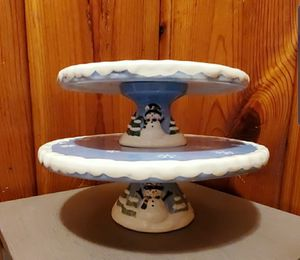 Elements whimsical snowman ceramic 2 tier cake pedestal for Sale in MONTGOMRY VLG, MD
