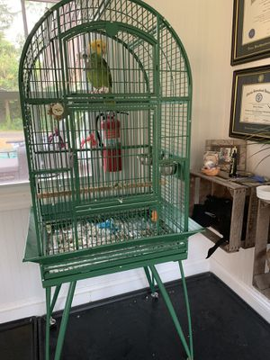 Large green bird cage on wheels for Sale in Holmdel, NJ
