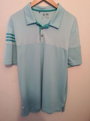 Adidas Mens Size Large Sky Blue Golf Shirt. Excellent like new condition awesome light spring color with signature Adidas 3 stripe right sleeve for Sale in Vallejo, CA