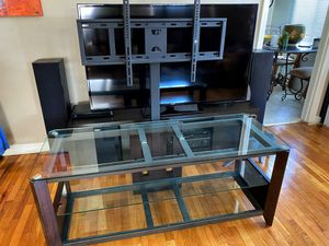 Entertainment center with TV stand - wood and glass for Sale in Los Angeles, CA