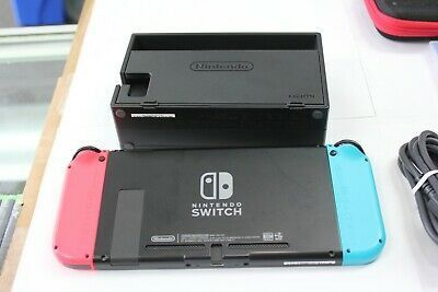 Nintendo Switch 32GB Gray Console with Neon Red and Neon Blue Joy-Con Bundle