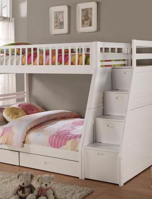 💯Honey White Twin/Full Storage Stairecase Bunk Bed by Global for Sale in Brooklyn Park, MD