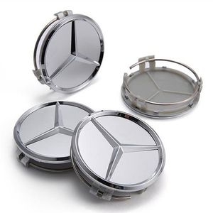 NEW SET OF 4 MERCEDES-BENZ MATTE SILVER CHROME CENTER HUB CAPS EMBLEM 75MM / 3IN for Sale in Mather, CA