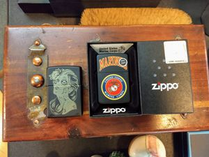 2 X New Zippo- Official US Marines in box- Dia de los muertos for Sale in Chicago, IL