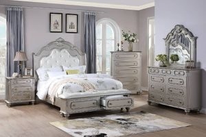 Brand new silver queen bedframe + dresser + mirror + nightstand 4PCs set for Sale in San Diego, CA