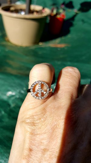 Brand new Peace sign ring. Size 6. Cubic Zirconia. for Sale in Meriden, CT
