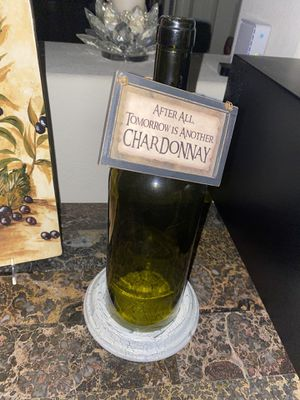 Decor- wine bottle candle holder with sign for Sale in Hollister, CA