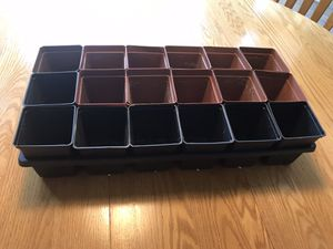 "Nursery pot set, 18 pots, 3.25""square +1 carrying tray.Used. for Sale in Aspen Hill, MD"