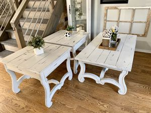 Super shabby coffee table and 2 end tables for Sale in Littleton, CO