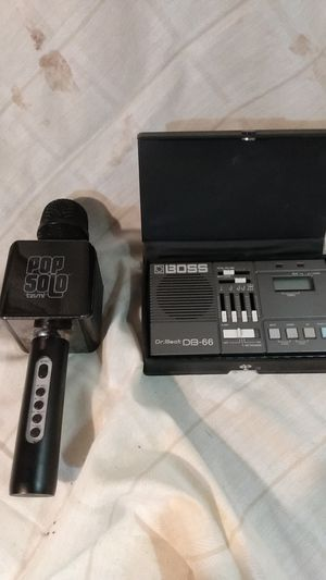Boss Dr Beat DB-66 beat machine and Pop Solo Tzuni microphone for Sale in Amarillo, TX