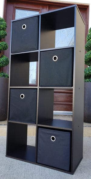 Beautiful 8 Cubes Cubbies Storage Bookcase Bookshelves Organizer Stand Unit Pantry Kitchen Bath Display Shelves + 4 Canvas Bins INCLUDED for Sale in Monterey Park, CA